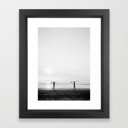 Surfer couple | Wanderlust photography of surfer couple | Coastal wall art. Framed Art Print