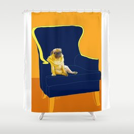 Dog in a chair #2 PUG Shower Curtain