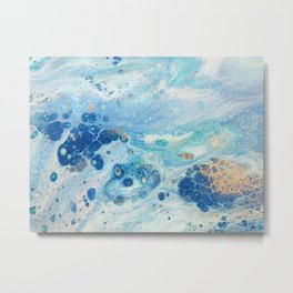 Under the Sea - Blue Abstract Acrylic Pour Art Metal Print