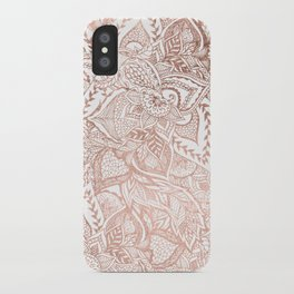Chic hand drawn rose gold floral mandala pattern iPhone Case