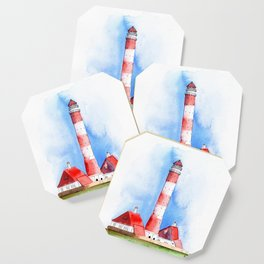 Lighthouse Watercolor Painting Coaster