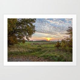 Sunset In Rural Idyllic Autumn Landscape In Germany Art Print