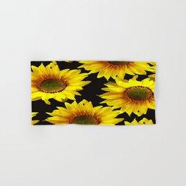 Large Sunflowers on a black background #decor #society6 #buyart Hand & Bath Towel