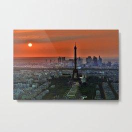 Paris, France & Eiffel Tower Sunset Metal Print
