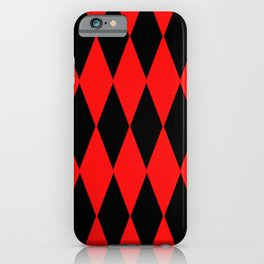 LARGE RED AND BLACK  HARLEQUIN DIAMOND PATTERN iPhone Case
