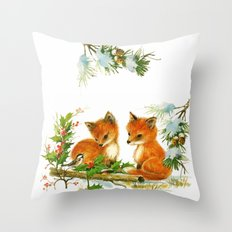 Vintage dream- little Winterfoxes in snowy forest Throw Pillow