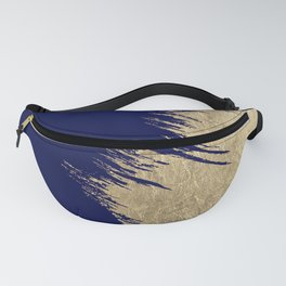 Navy blue abstract faux gold brushstrokes Fanny Pack
