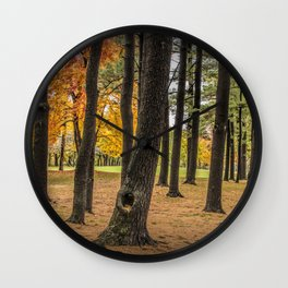 Fall City Park Scene in with Pine and Maple Trees Wall Clock