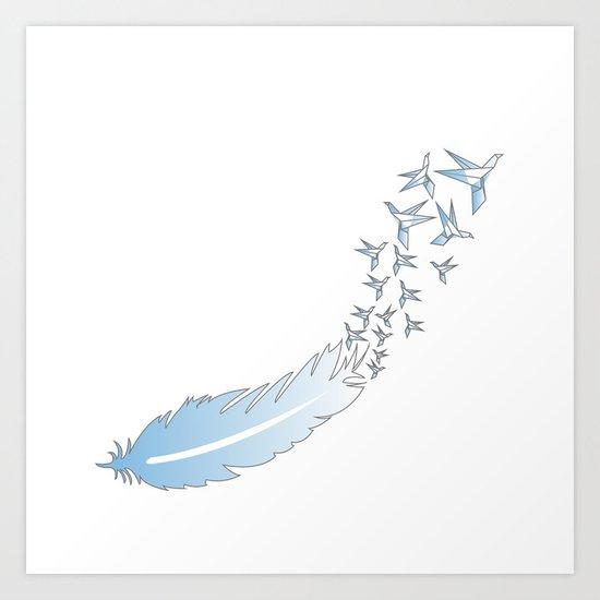 Origami Feather Birds Art Print