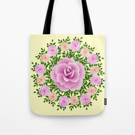 Pink Roses On Yellow Design Tote Bag