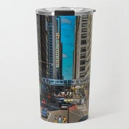 Cartoony Downtown Chicago Travel Mug