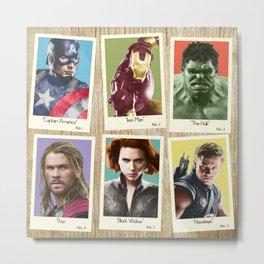 Vintage Super Hero Trading Cards #1 (wooden background) Metal Print