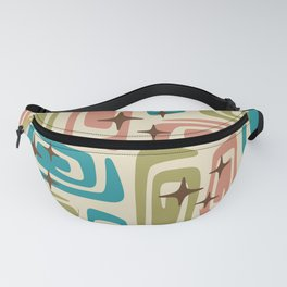Mid Century Modern Cosmic Galaxies 436 Olive Blue and Dusty Rose Fanny Pack