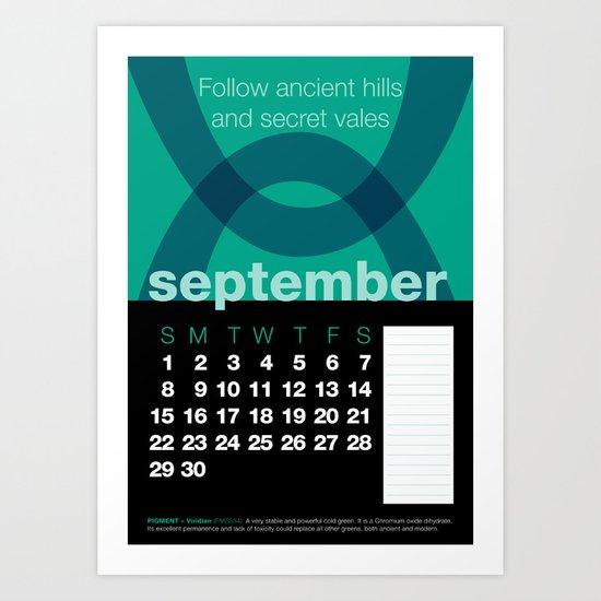 2013 Pigment to Pantone Calendar – SEPTEMBER Art Print