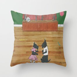 At the Hop-Scotch - Scotties - Scottish Terriers Throw Pillow