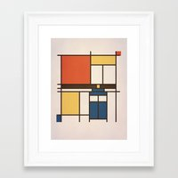 mondrian Framed Art Prints featuring Mondrian Who by Perdita