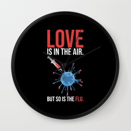 Love And Flu In The Air Funny Wall Clock