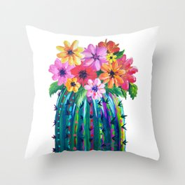 Colorful Cactus with Flowers, Desert Motif Throw Pillow