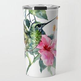 HIbiscus and Hummingbird Travel Mug