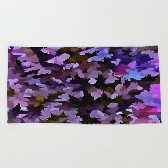 Foliage Abstract In Blue, Pink and Sienna Beach Towel