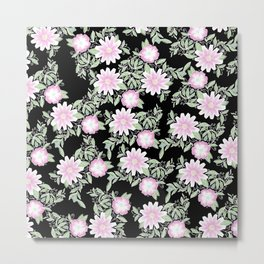 Hand painted blush pink green black watercolor floral Metal Print