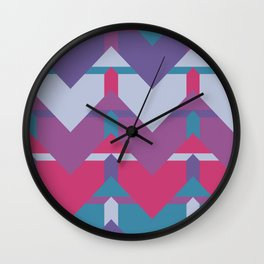 Cool Waves #society6 #violet #pattern Wall Clock