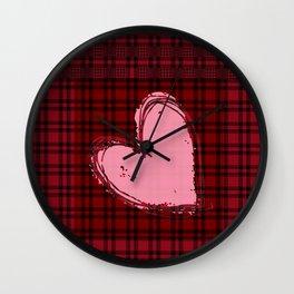 Heart on Flannel Wall Clock