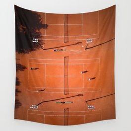 Tennis court orange Wall Tapestry