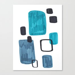 Mid Century Modern Abstract Minimalist Art Colorful Shapes Vintage Retro Style Turquoise Blue Grey Canvas Print