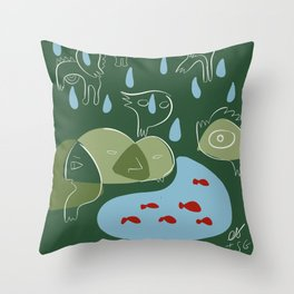 Animal Spirits in the rain with red fishes minimal illustration  Throw Pillow