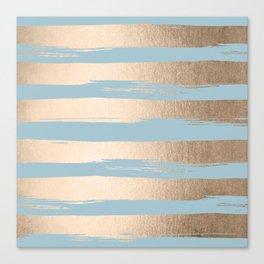 Painted Stripes Gold Tropical Ocean Sea Blue Canvas Print