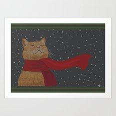 Knitted Wintercat Art Print