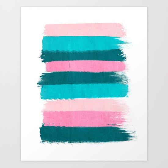 Holden - abstract painting minimal brushstrokes painterly boho modern trendy girly art Art Print