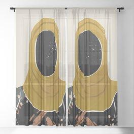 Black Hair No. 13 Sheer Curtain