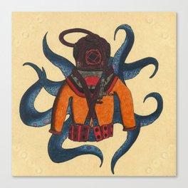 Orange Scuba Diver Canvas Print