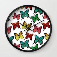 butterflies Wall Clocks featuring Butterflies by Julia Badeeva