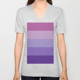 Pink Lavender Purple Stripes Unisex V-Neck