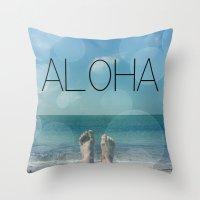 aloha Throw Pillows featuring ALOHA by mark ashkenazi
