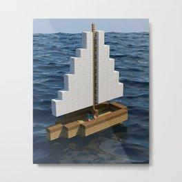 Mine craft boat on the ocean Metal Print