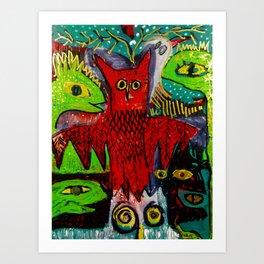 Red Owl Wisdom Art Print