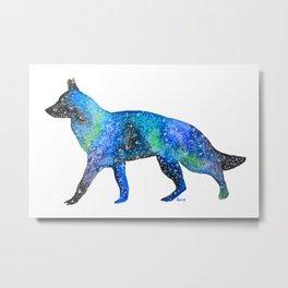 Galaxy German Shepherd Artwork Starry Night Print Metal Print