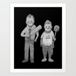 Zombies in my backyard: Rocky  Shaun of the Dead  Art Print