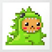 8bit Art Prints featuring 8bit Dinobear by Bear Picnic