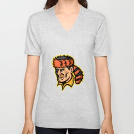 Davy Crockett Mascot Unisex V-Neck