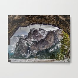 Bridalveil Falls From Tunnel View Metal Print