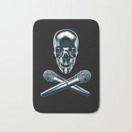 Pirate tunes / 3D render of skull and cross bones with microphones Bath Mat