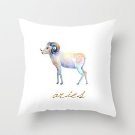 Watercolor Aries Ram Throw Pillow