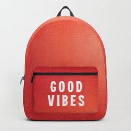 Sunset Orange/Red and White Distressed Ink Printed Good Vibes Backpack
