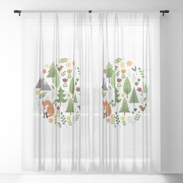 Scandinavian Style Illustrations Circle Design Sheer Curtain
