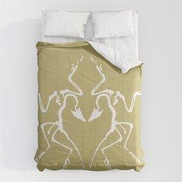 Dinosaur Fossil Ink Blot 2, Mustard Comforters